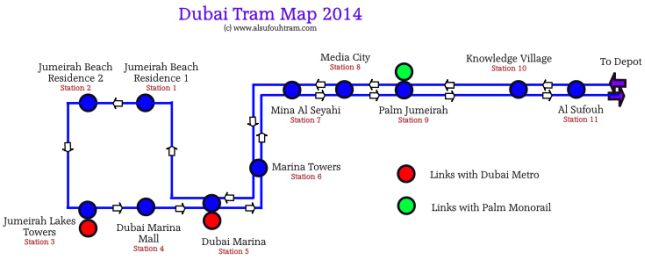 Tramwaj w Dubaju - mapa