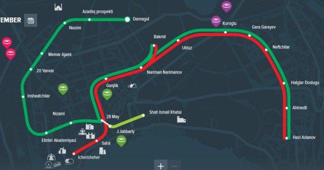 Metro w Baku- mapa