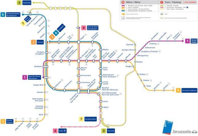 Metro w Brukseli - mapa