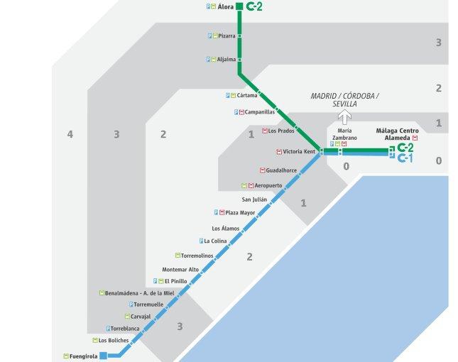 Kolej miejska w Maladze - mapa