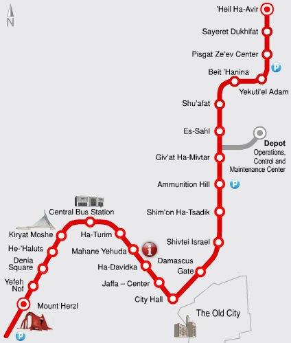 Light Rail w Jerozolimie - mapa