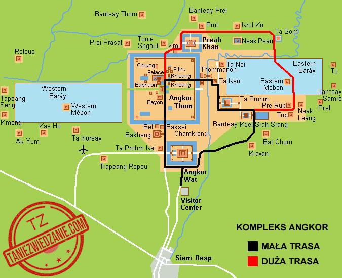 Kompleks Angkor w Kambodży - mapa i trasy