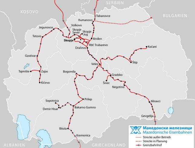 Kolej w Macedonii - mapa