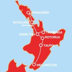 Manabus w Nowej Zelandii - trasa przejazdów