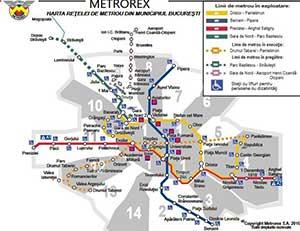 Mapa metra w Bukareszcie