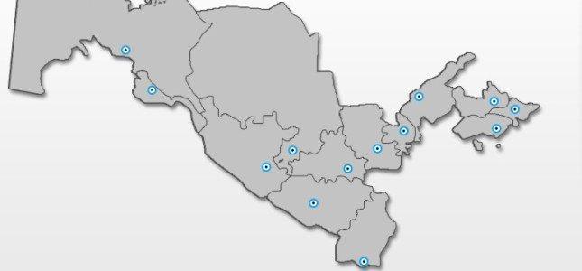 Kolej w Uzbekistanie - mapa