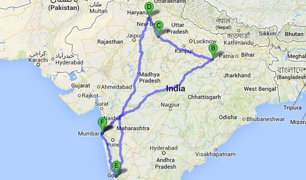 Indie - trasa wyjazdu