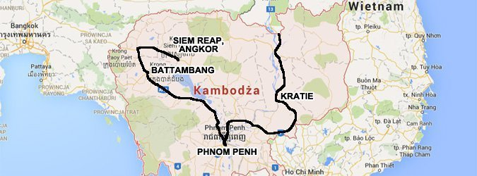 Trasa naszej podróży po Kambodży