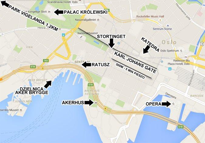 Atrakcje w Oslo - mapa