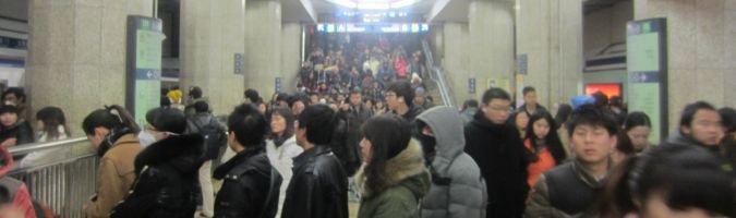 Tłumy ludzi w Pekinie