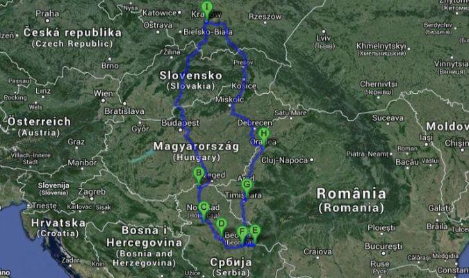 Serbia - trasa podróży samochodem